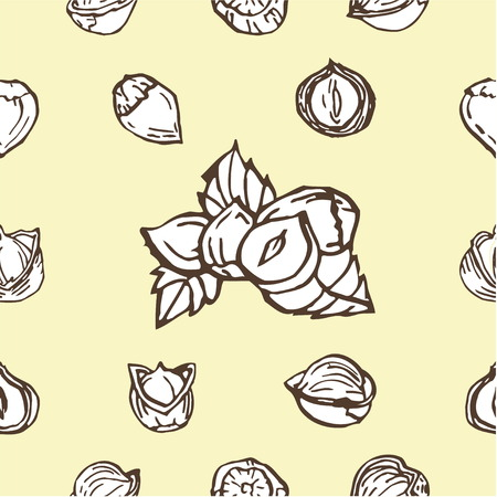 hazelnut: Hazelnut seamless pattern. Useful for ads, signboards, packaging, menu design, interior decorating and other design.