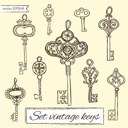 clues: set of vintage keys.handmade work - vintage key