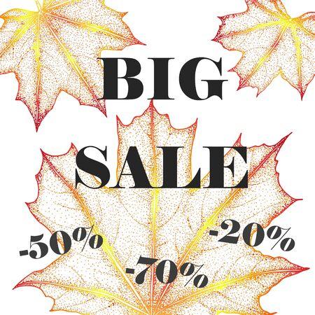 bage: Sales banner with autumn leaves. Botanical illustration