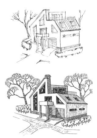 Ferienhaus vor und nach dem Wiederaufbau. Hütte renoviert und verbessert. Vektorgrafik
