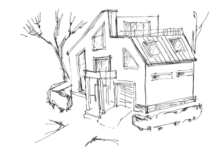 quick drawing: a rough sketch of a modern home. Sketch of the cottage in the country. Quick drawing of a house Illustration