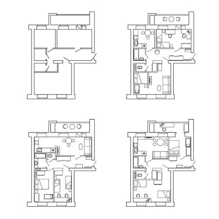 Plan appartementen voor en na herontwikkeling met furniture.House interieur. Zwart-wit plattegrond van een modern appartement.