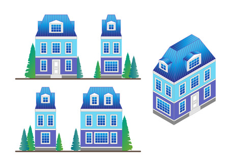 dormer: set of country house facades in a classical style with a loft and dormer windows.Facades and house isometric