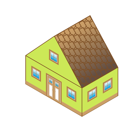 dormer: house with green walls and brown roof in perspective view. Cottage in a classic style with a loft and a roof window. Illustration
