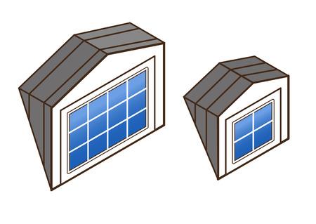 dakkapel isometrisch. architectonische details van de huizen: dakramen