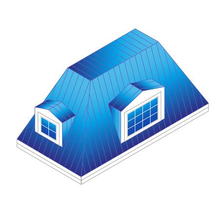 schuin mansardedak met dakkapellen. Gebouw Type dak: mansard roof.pitched dak met ramen isometrische