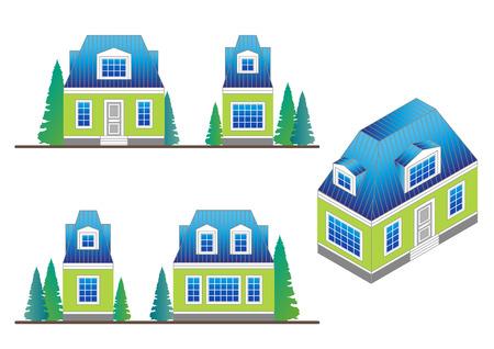 set van landhuis gevels in een klassieke stijl met een loft en dakkapel windows.Facades en huis isometrisch Stock Illustratie