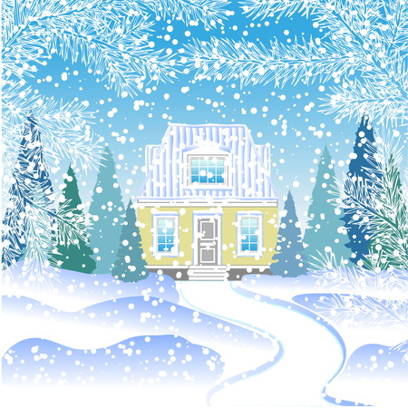 snowy hill: small house in the snowy forest with fir trees. House on the hill behind the fir branches