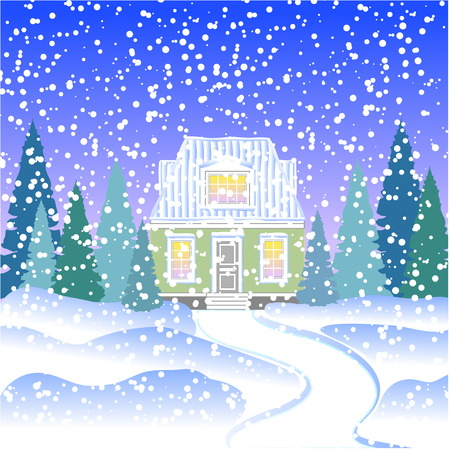attic: a small house with an attic in the winter forest with fir trees. House in snowy forest Illustration