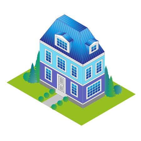 klassiek huis in isometrisch aanzicht met een groen gazon en bomen. Vakantiehuis in een klassieke stijl met een loft en dakkapellen.