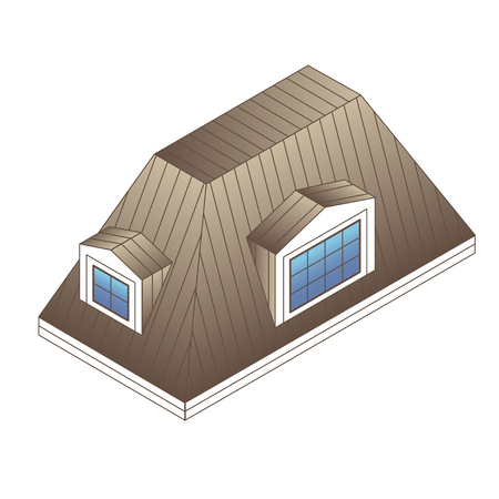 pitched roof: pitched mansard roof with dormer windows. Building roof type: mansard roof.