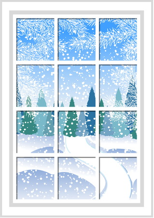 winter Christmas window with a view of the snowy forest. The window behind which visible white Christmas tree branches and wood. Illustration