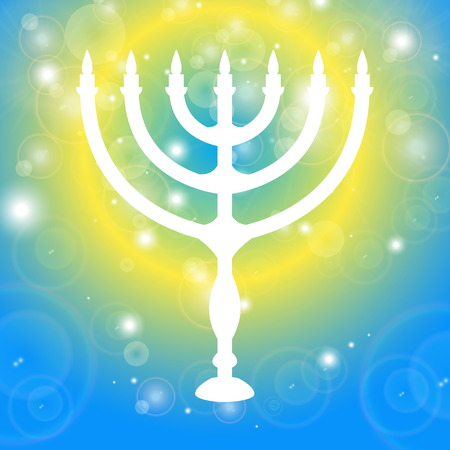 Happy Hanukkah background. Candlestick - Hanukkah. Candle on a black background with light effects.