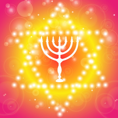 candlestick: Happy Hanukkah background. Candlestick - Hanukkah. Star of David with the candlestick.
