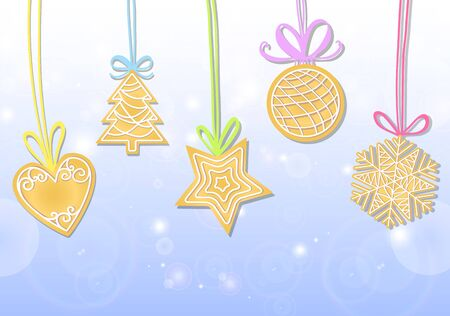 set of Christmas cookies: heart, tree, ball snowflake star Illustration
