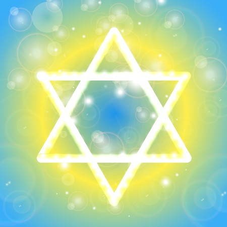 Happy Hanukkah background. Star of David. Vector illustration, contains transparencies, gradients and effects.