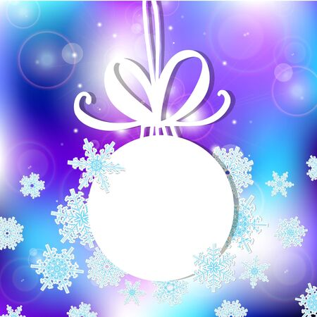 white Christmas ball on a light background with highlights. Vector illustration, contains transparencies, gradients and effects. Christmas ball with snowflakes