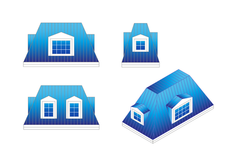 mansard: set types of a mansard roof with different angles. pitched mansard roof with dormer windows. Building roof type: mansard roof. Illustration