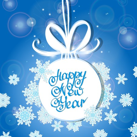white Christmas ball on a light background with highlights. Lettering happy new year background. Vector illustration, contains transparencies, gradients and effects.