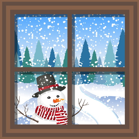 finestra di Natale invernale con vista sul bosco innevato.
