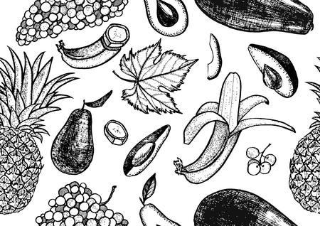 Botanical pattern of avocado, pineapple, grapes, banana and papaya Illustration