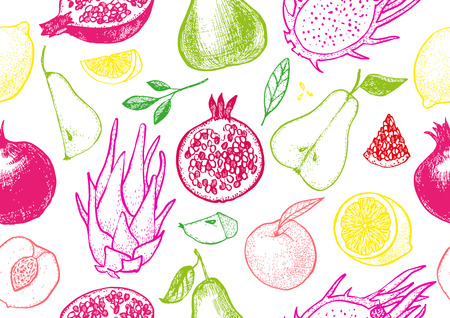 Healthy fruit hand drawn seamless vector texture. Botanical pattern of lemon, peach, pear, pomegranate and dragon fruit.