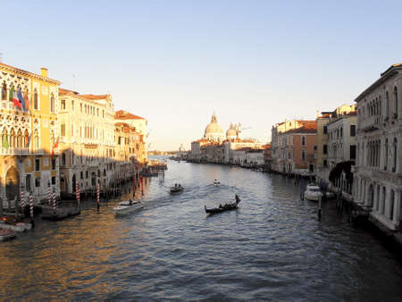 grande: World known Venetian Canal grande by sunset, 3 Stock Photo