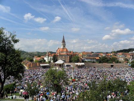 Thousands of pilgrims at the famous sanctuary Marija Bistrica, Croatia.