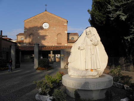 Statue at the entrance of the church where St. Leopold Mandic lived and prayed, Padua, Italy.
