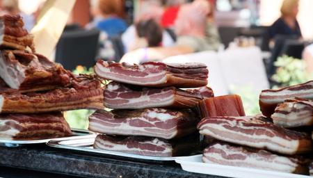 speck: Croatian traditionaly smoked hamburger, speck Stock Photo