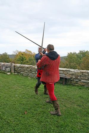 mediaval: Knights fighting with swords, Mediaval Fair, Medvednica, Zagreb, Croatia, Europe, 2015.