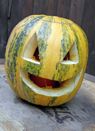 craftmanship: A picturesque, funny, colourful smiling Halloweens pumpkin. 9 Stock Photo