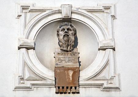 platon: Platon, Greek philosopher, sculpture at Zagrebs Upper Town, Croatia, Europe