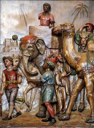 three kings: Epiphany, three kings are coming, church relief in Stitar, Slavonia, Croatia, Europe