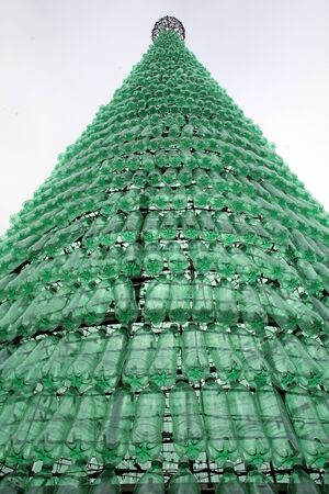 plastic christmas tree: Christmas tree made of plastic bottles, Advent in Zagreb, Croatia, Europe, 2015.
