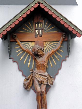 berchtesgaden: Ancient traditional wooden crucifix in Berchtesgaden,2,German Alps