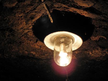 discreet: Discreet old lantern in wine cellars of Kutjevo, Croatia, Europe,