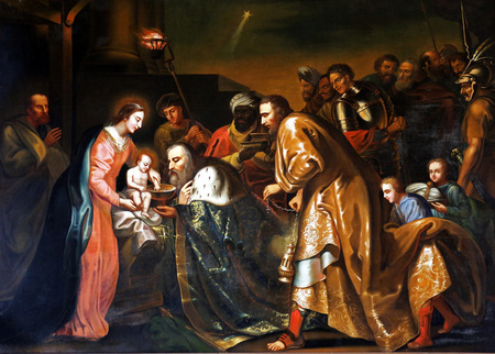 Holy native scene,Three kings coming,oil painting,unknown author,Pleterje,Slovenia,Europe