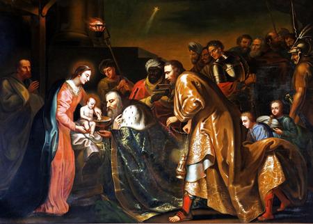 scène native Sainte, Trois rois à venir, peinture à l'huile, auteur inconnu, Pleterje, Slovénie, Europe