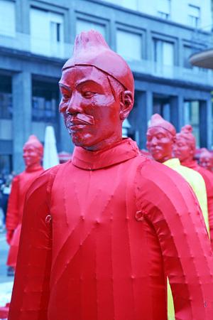 yong: Chinese new year 4713th, Bing Ma Yong warriors, Zagreb, 7, Croatia, Europe, 2016. Editorial