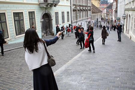 enyoing: Korean tourists enyoing Kravatas day,Zagreb,2