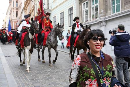 enyoing: Korean tourists enyoing Kravatas day,Zagreb,5