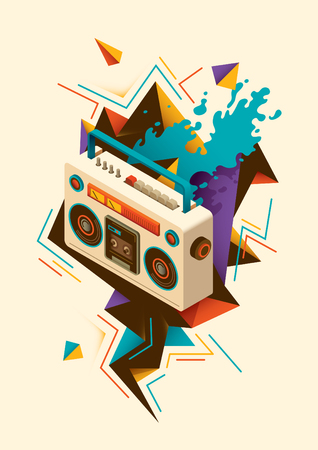 ghetto blaster: Abstract illustration with isometric radio.