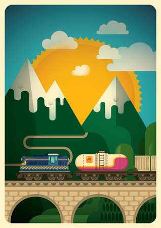 freight train: Freight train in the mountain.