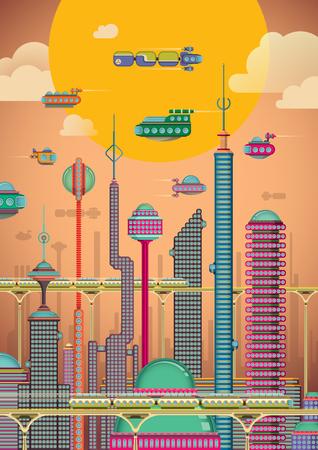 Illustration of futuristic city.