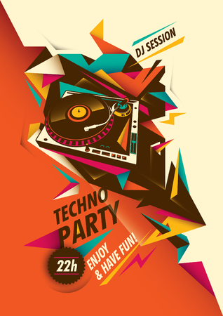 Abstract techno party poster with turntable. Ilustrace
