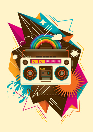 ghetto blaster: Colorful abstraction with radio.