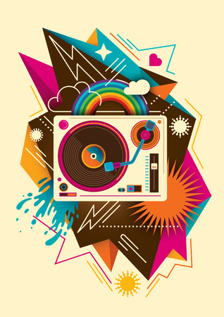 turntable: Colorful abstraction with turntable. Illustration