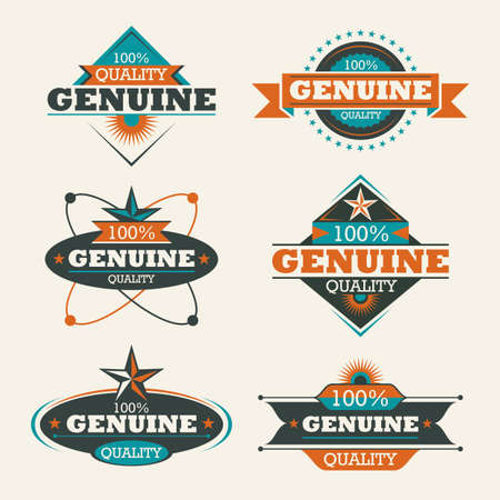 Set of genuine quality labels.