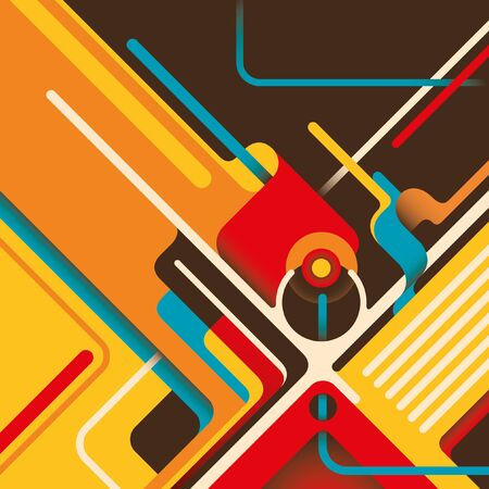 designed: Abstraction with designed shapes in color. Illustration